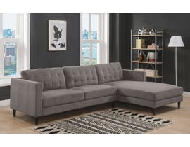 K-Living Sawyer Series 2pcs Chenille Fabric Sectional Sofa in Dark Grey U501