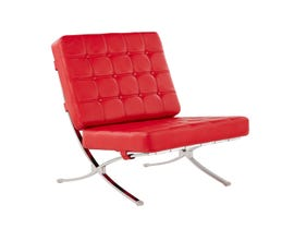 Global Furniture Tufted Chair Natalie Red With Chrome Frame