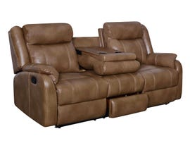 Global Furniture Console Reclining Leather Look Loveseat with Drawer in Blanche Walnut U7303C
