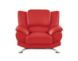 Global Furniture Bonded Leather And Leather Match Chair In Red With Chrome Legs