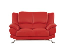 Global Furniture Bonded Leather And Leather Match Love Seat In Red With Chrome Legs