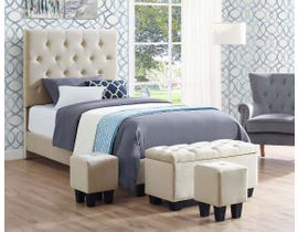 High Society Faith Series Twin Bed and Ottoman Set in Buckwheat UFH051TBG