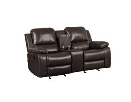 Kwality Furniture Alice Collection Leather Air Reclining Loveseat in Chocolate K-550