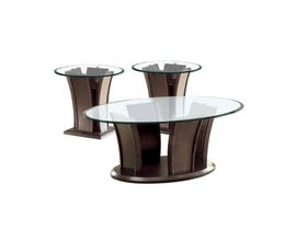 Brassex Ambrose Contemporary 3-Piece top glass Table Set in cark walnut