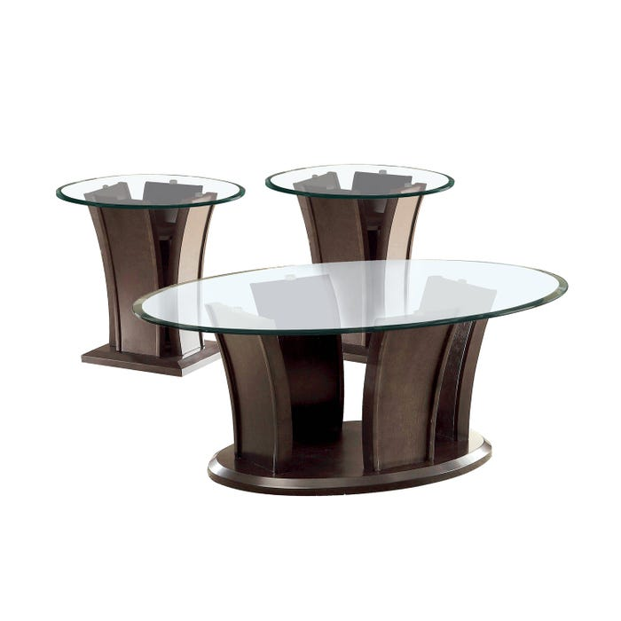 3 Piece Glass Top Coffee Table Sets.Brassex Ambrose Contemporary 3 Piece Top Glass Table Set In Cark Walnut