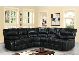 Flair Upton Series 3pc Leather Air Manual Reclining Sectional in Black