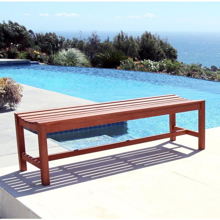 Strange Vifah Malibu Outdoor Patio 5 Foot Wood Backless Garden Bench V025 1 Home Interior And Landscaping Mentranervesignezvosmurscom