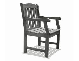 VIFAH Renaissance Outdoor Patio Hand-scraped Wood Garden Armchair in Grey V1295
