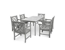 VIFAH Renaissance Outdoor Patio 7-piece Hand-scraped Wood Dining Set V1297SET12