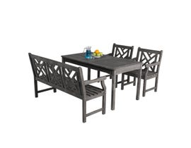 VIFAH Renaissance Outdoor 4-piece Hand-scraped Wood Patio Dining Set with 4' Bench V1297SET18