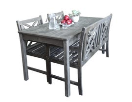 VIFAH Renaissance Outdoor Patio 4-piece Hand-scraped Wood Dining Set with 4-foot Bench V1297SET20