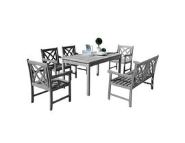 VIFAH Renaissance Outdoor Patio 6-piece Hand-scraped Wood Dining Set with 4-foot Bench V1297SET21