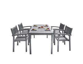 VIFAH Renaissance Outdoor Patio Hand-scraped Wood 5-piece Dining Set with Stacking Chairs V1297SET27