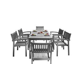 VIFAH Renaissance Outdoor Patio Hand-scraped Wood 7-piece Dining Set with Stacking Chairs V1297SET28