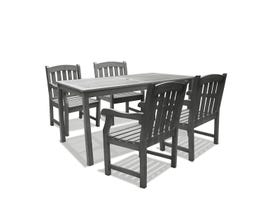 VIFAH Renaissance Outdoor 5-piece Hand-scraped Wood Patio Dining Set V1297SET4