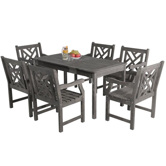 Vifah Patio Furniture.Vifah Renaissance Outdoor 7 Piece Hand Scraped Wood Patio Dining Set V1297set9