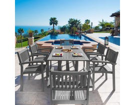 VIFAH Renaissance Outdoor Patio Hand-scraped Wood 7-piece Dining Set with Stacking Chairs V1300SET12