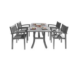 VIFAH Renaissance Outdoor Patio Hand-scraped Wood 5-piece Dining Set with Stacking Chairs V1300SET13