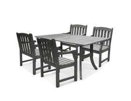 VIFAH Renaissance Outdoor 5-piece Hand-scraped Wood Patio Dining Set V1300SET6