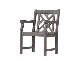 VIFAH Renaissance Outdoor Patio Hand-scraped Wood Garden Armchair V1301