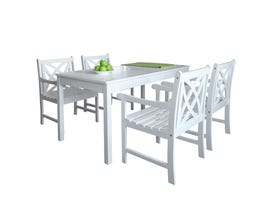 VIFAH Bradley Outdoor Patio 5-piece Wood Dining Set in White V1336SET16