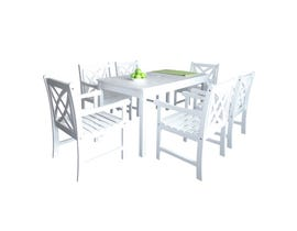 VIFAH Bradley Outdoor Patio 7-piece Wood Dining Set in White V1336SET19