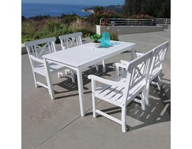 VIFAH Bradley Outdoor Patio 5-piece Wood Dining Set in White V1336SET2