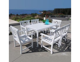 VIFAH Bradley Outdoor Patio 7-piece Wood Dining Set in White V1336SET3
