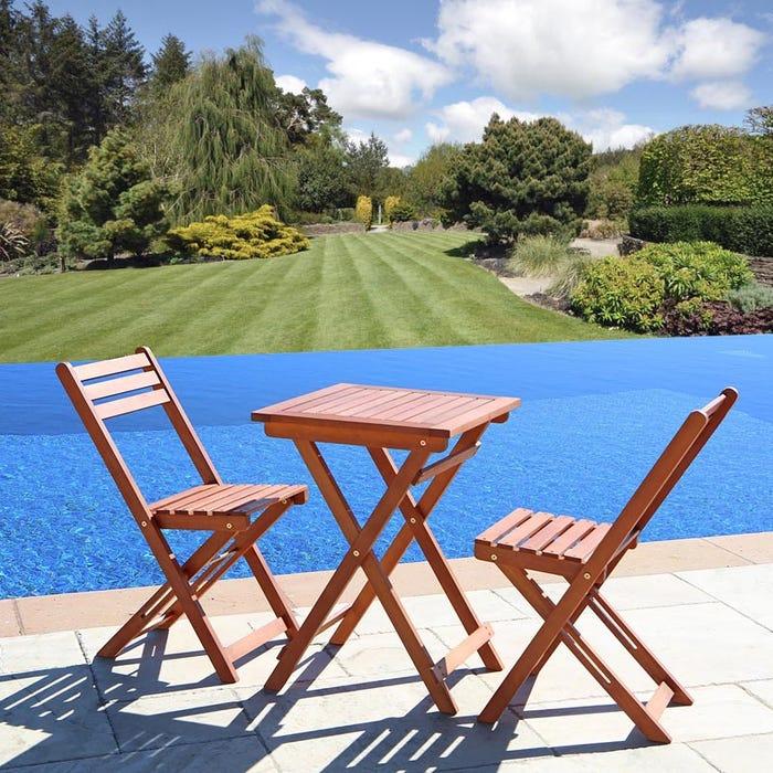 Vifah Patio Furniture.Vifah Malibu Outdoor Patio 3 Piece Wood Bistro Set V1381