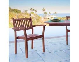 VIFAH Malibu Outdoor Patio Wood Garden Stacking Armchair (Set of 2) V1387