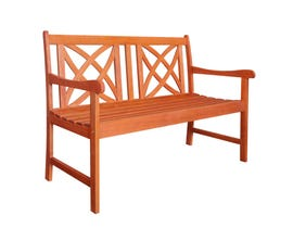 VIFAH Malibu Outdoor Patio 4-foot Wood Garden Bench V1493