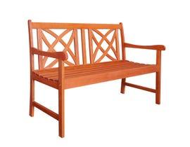 VIFAH Malibu Outdoor Patio 5-foot Wood Garden Bench V023-1