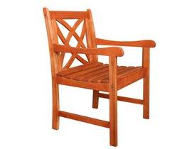 VIFAH Malibu Outdoor Patio Wood Garden Armchair V1495