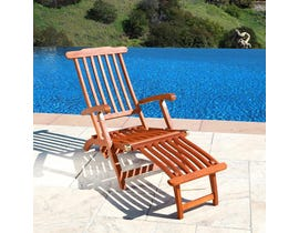 VIFAH Malibu Outdoor Wood Folding Steamer Lounge V156