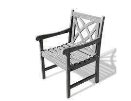 VIFAH Renaissance Outdoor Patio Hand-scraped Wood Garden Armchair V1609