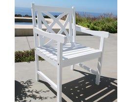 VIFAH Bradley Outdoor Patio Wood Garden Armchair in White V1610