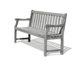 VIFAH Renaissance Outdoor Patio 5-foot Hand-scraped Wood Garden Bench V1620