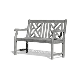 VIFAH Renaissance Outdoor Patio 4' Hand-scraped Wood Garden Bench V1624