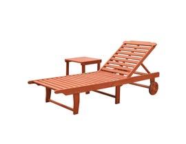 VIFAH Malibu Outdoor Patio Wood 2-Piece Beach & Pool Lounge Set  V1802SET1
