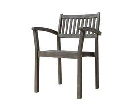 VIFAH Renaissance Outdoor Patio Hand-scraped Wood Stacking Armchair (Set of 2) V1805