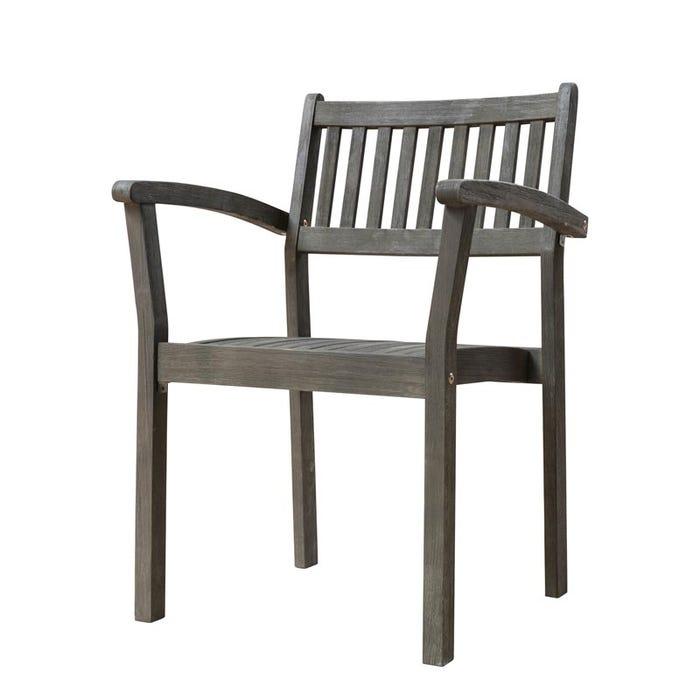 Vifah Patio Furniture.Vifah Renaissance Outdoor Patio Hand Scraped Wood Stacking Armchair Set Of 2 V1805