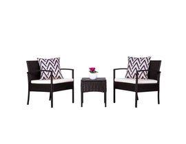 VIFAH Cyrus 3-Piece Cushioned Compact Outdoor/Indoor Patio Garden Wicker Coffee Set V1813
