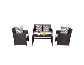 VIFAH Cyrus 4-Piece Cushioned Compact Outdoor/Indoor Patio Garden Wicker Dining & Coffee Set V1814