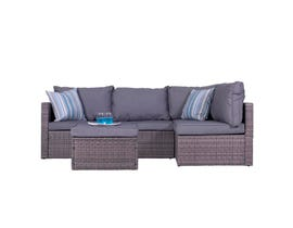 VIFAH Cyrus 4-Piece Cushioned Compact Outdoor/Indoor Patio Garden Wicker Rattan Sectional Sofa Set V1815