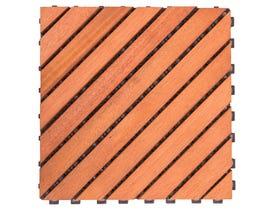 VIFAH Outdoor Patio 12-Diagonal Slat Eucalyptus Interlocking Deck Tile (Set of 10 Tiles) V182