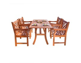 VIFAH Malibu Outdoor 5-piece Wood Patio Dining Set V187SET2
