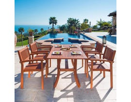 VIFAH Malibu Outdoor Patio 5-piece Wood Dining Set with Stacking Chairs V187SET3