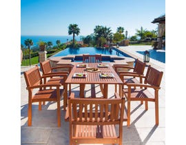 VIFAH Malibu Outdoor Patio 7-piece Wood Dining Set with Stacking Chairs V187SET4