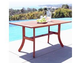 VIFAH Malibu Outdoor Patio Wood Rectangular Dining Table with Curvy Legs V189