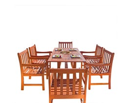 VIFAH Malibu Outdoor 7-piece Wood Patio Dining Set with Curvy Leg Table V189SET10
